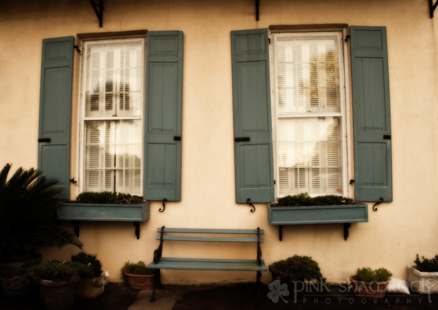 Bench and shutters in downtown Charleston