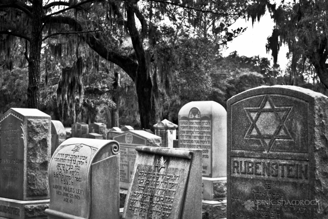 Grave markers within the Jewish section of Bonaventure Cemetery in Savannah, GA