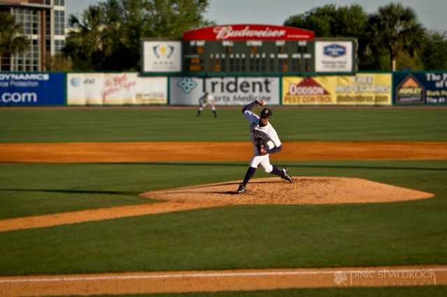 Jose Campos of the Charleston Riverdogs throws a pitch.