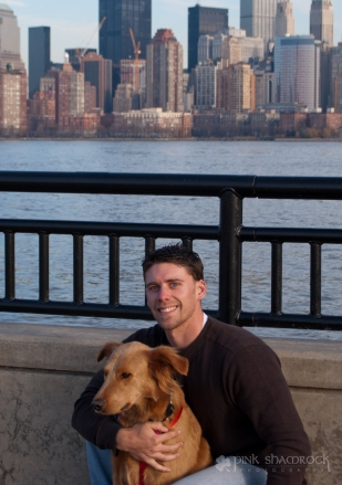 """Lucky in NYC"" - Lucky and Roger in front of the NYC skyline."