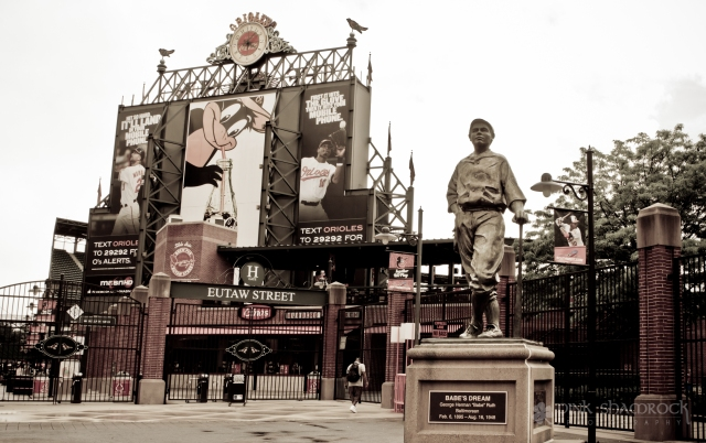 A statue of George Herman Ruth Jr. stands outside of Oriole Park at Camden Yards in Baltimore, Maryland.