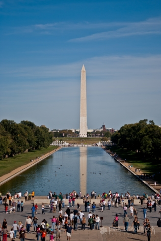 The Washington Monument is reflected in the Reflecting Pool in Washington, DC.